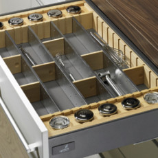 Лоток для столовых приборов OrgaTray 150 Deluxe 2 для InnoTech, модуль 600, 462х520 мм, бук/сталь, Hettich